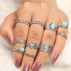 New 10 pc Boho Vintage Silver Turquoise Ring Set